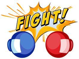 Boxhandskar och ordkamp på vit bakgrund