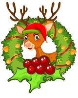 Weihnachtsmotiv mit Rentier und Misteln