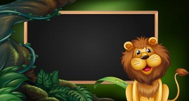 Modèle de bordure avec lion à l'état sauvage