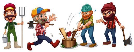 Tomas de madera y personajes de agricultores