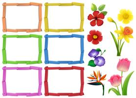 Frame template with different kinds of flowers