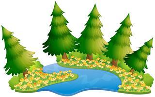 Escena de jardín con flores a lo largo del río.
