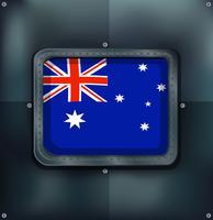 Bandera de Australia en el fondo metálico