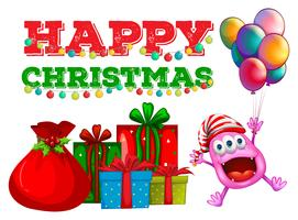 Kerstthema met buitenaards wezen en ballonnen