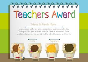 Modèle de certificat pour le prix des enseignants