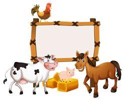 Plantilla de marco con animales en la granja.