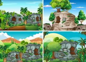 Scen med stenhus i djungeln