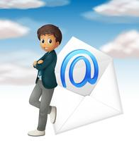 Businessman and email symbol in sky