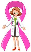 Female doctor with pink ribbon