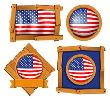 American flag on different frames