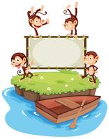 Frame template with monkeys on island vector