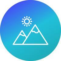 Berg met zon Vector pictogram