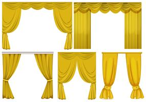 Yellow curtains on white background vector