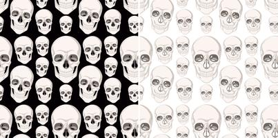 Seamless background design with human skulls