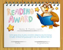Certificate template with owl reading book