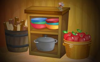Kitchen with apples and shelves