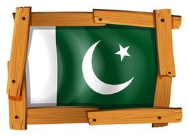 Flag of Pakistan on wooden frame