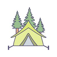 Tenda con alberi Vector Icon