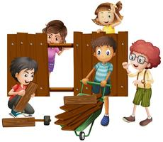 Children building wooden fence