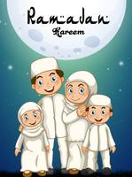Muslim family in white costume