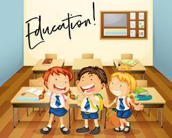 Expresión de palabras para la educación con alumnos en el aula. vector