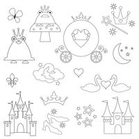 black outline princess digital stamps