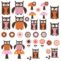 rosa orange mod Owl Clipart
