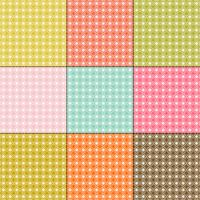 white daisy patterns on retro color backgrounds