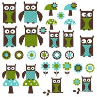 Blue Green mod Owl Clipart vector