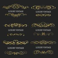 Gold decorative frame.Vintage logo templates
