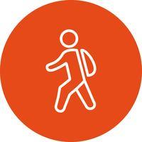 Vector caminando al icono de la escuela