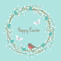 Easter wreath with robin vector