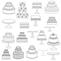 black outline cake digital stamps