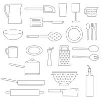 black outline kitchen cooking digital stamps