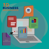 3d business infographics vector