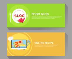 Food blog & online recipe banner vector