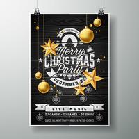 Vector el diseño de la fiesta de Navidad feliz con los elementos de la tipografía del día de fiesta y las estrellas del oro en fondo de madera del vintage.
