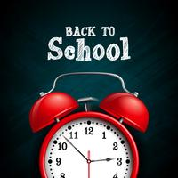 Back to school design with red alarm clock on dark chalkboard background. Vector illustration for greeting card, banner, flyer, invitation, brochure or promotional poster.