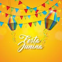 Ejemplo de Festa Junina con las banderas del partido y la linterna de papel en fondo amarillo. Vector Brasil Diseño Festival de junio para la tarjeta de felicitación, invitación o cartel de vacaciones.