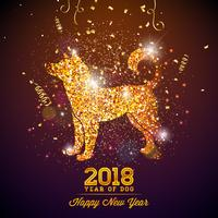 Illustration du nouvel an chinois 2018 avec symbole lumineux sur fond de célébration brillante. Année de conception de vecteur de chien.