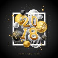 Ilustração do ano novo feliz 2018 com número do ouro 3d e bola decorativa no fundo preto. Vector Design de férias