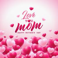 Happy Mothers Day Greeting card design con cuore e ti amo elementi tipografici mamma su sfondo bianco.