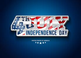 Independence Day of the USA Vector Illustration with Flag in 3d Typography Lettering. Fourth of July Design