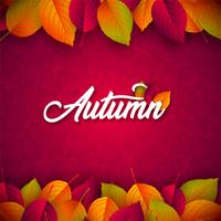 Autumn Illustration with Falling Leaves and Lettering on Red Background. Autumnal Vector Design with Hand Drawn Doodles for Greeting Card, Banner, Flyer, Invitation, Brochure or Promotional Poster.