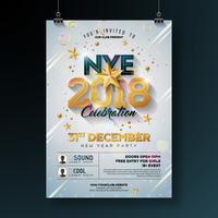 Ejemplo de la plantilla del cartel de la celebración del partido de Año Nuevo 2018 con número brillante del oro en el fondo blanco. Vector Holiday Premium invitación Flyer o Promo Banner.