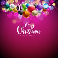 Vector Merry Christmas-illustratie met veelkleurige sierballen op glanzende rode achtergrond. Gelukkig Nieuwjaar ontwerp voor wenskaart, Poster, Banner.