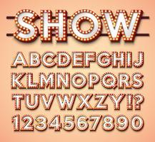 Gloeilampalfabet met helder rood kader en schaduw op rode backgrond. Gloeiende retro vector lettertype collectie met glanzende lichten. ABC en nummerontwerp