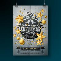 Diseño feliz de la fiesta de Navidad del vector con los elementos de la tipografía del día de fiesta y las bolas ornamentales en fondo limpio. Celebración Fliyer ilustración. EPS 10.