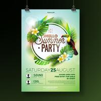 Vector Summer Beach Party Flyer Design with flower toucan on exotic leaf background. Summer nature floral elements, tropical plants, and air balloon with blue sky