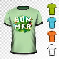 Design t-shirt estate vacanza con foglie tropicali, fiori e tucano uccello su sfondo trasparente. Modello di disegno vettoriale per abbigliamento con qualche variazione di colore.